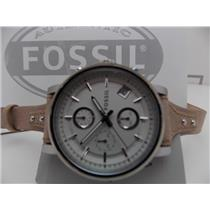 Fossil ES3625 Women's Watch.Original Boyfriend Watch.Silver Tone.Tan Leathr Band