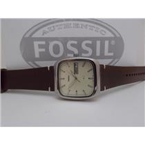 Fossil FS5329 Mens Rutherford Watch.Square Steel Case.Day/Date.Brown Lthr Strap