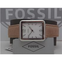 Fossil ES4243 Women's Watch.Atwater.Square Silver Tone Case,White Dial,Brwn Band