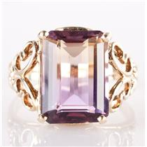 10k Yellow Gold Emerald Cut Ametrine Solitaire Cocktail Ring 6.50ct
