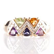 14k Yellow Gold Trillion Cut Multi-Gemstone & Diamond Cocktail Ring 1.25ctw