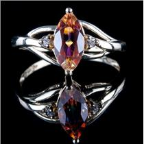 10k Yellow Gold Marquise Cut Mystic Topaz & Diamond Solitaire Ring 1.18ctw