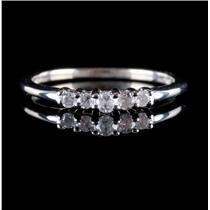 10k White Gold Round Cut Five-Stone Diamond Wedding / Anniversary Band .16ctw