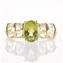 10k Yellow Gold Oval & Princess Cut Peridot Cocktail Ring 2.58ctw