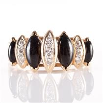 14k Yellow Gold Marquise Cut Onyx & Round Cut Diamond Cocktail Ring 1.32ctw