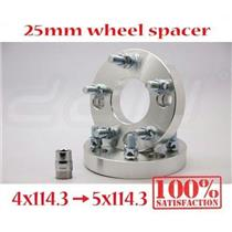 2 pcs 1 Inch Wheel Spacer M12x1.5 Studs & Nuts PCD 4x114.3 To 5x114.3