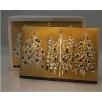 Hallmark Boxed Card Gold with Silver Chandelier Ornaments - 12 Cards - #PX1762