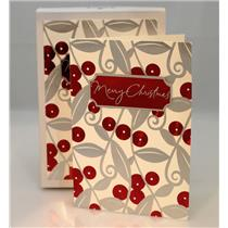 Hallmark Boxed Cards Red and Silver Merry Christmas - 12 Cards - #PX4957