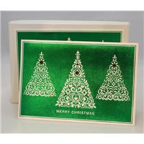 Hallmark Boxed Cards Merry Christmas Green Foiled & Trees - 12 Cards - #PX5874
