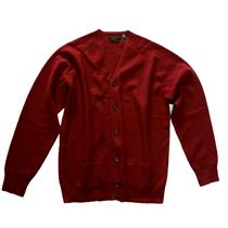 L NWT Joseph Abboud Men Dragon Red Button Front Signature Cardigan Wool Sweater