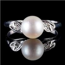Vintage 1930's 14k White Gold Round Cut Cultured Pearl & Diamond Solitaire Ring