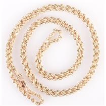 "14k Yellow Gold Twisted Rope Chain W/ Lobster Claw Clasp 22"" Length 6.5g"