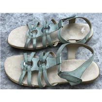 Sz 10N Easy Spirit Eshazelle Washed Green Leather Strappy hook/loop Sandals