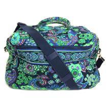 Vera Bradley Duffle Bag Navy Green Purple Paisley Print w/Optional Navy Strap