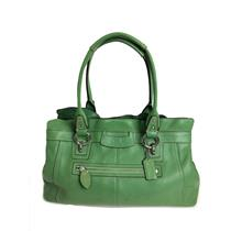 Authentic Coach Green Pebbeled Leather Handle Open Top Penelope Shopper/Purse