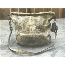 Authentic Tan COACH 15361 KRISTIN EMBOSSED Snakeskin Large Zip Top Hobo Handbag