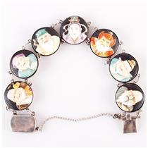 """Vintage 1950's Sterling Silver Arita Porcelain Portrait Bracelet 7"""" Length"""