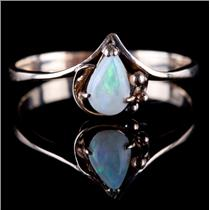 "14k Yellow Gold Pear Cut ""AA"" Opal Solitaire Ring .30ct"