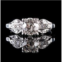 Vintage 1910's Platinum Diamond Solitaire Engagement Ring W/ Accents 1.03ctw