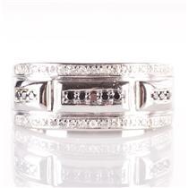 10k White Gold Round Cut Black Diamond & Diamond Cocktail Ring .46ctw