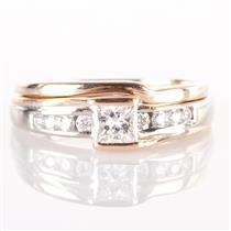 14k Yellow Gold Round Cut Diamond Bypass Engagement / Wedding Ring Set .34ct