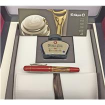 Pelikan Red Tortoise M101N Fountain Pen 14k M Nib Demonstrator Special Edition
