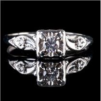 Vintage 1940s 14k White Gold Diamond Solitaire Engagement Ring W/ Accents .13ctw