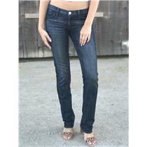 "Sz 27 Authentic Goldsign Denim Straight Leg Low Rise Jeans Dark Blue Wash 33""L"
