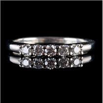 14k White Gold Round Cut Five-Stone Diamond Wedding / Anniversary Band .22ctw
