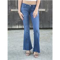 Sz 24 Hudson Denim Low Rise Ferris Flare Leg Raw/Cut Hem Jeans in Aruba Wash