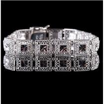 "14k White Gold Vintage Style Filigree Link Bracelet 7.5"" Length 7.5g"