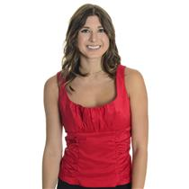 12 NWT Donna Ricco Holiday Red Silky Button Formal Top Camisole Corset Shell