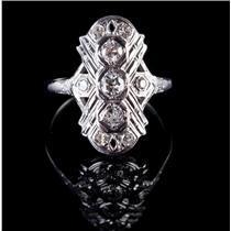 Vintage 1890's 14k White Gold Old Mine Cut Diamond Cocktail Ring .42ctw