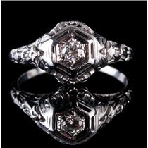 Vintage 1910s 14k White Gold Round Cut Diamond Solitaire Engagement Ring .12ctw