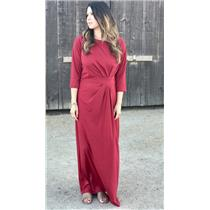 Size L Miss Maxi Red Jersey Full Length Gown/Dress w/Ruched Front 3/4 Sleeves