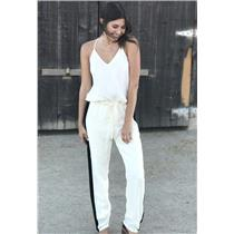 Sz S Karina Grimaldi Ivory Jumpsuit w/Black Beaded Side Stripes Drawstring Waist
