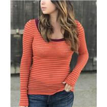 M Free People Orange Burgundy Scoop Neck Striped Long Sleeve Perforated Thermal