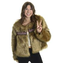XS/S Wildheart Eternal Sunshine Creations Kate Faux Fur Jacket Aztec Embroidery