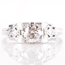 Vintage 1900's Platinum Old Euro Cut Diamond Solitaire Engagement Ring .78ct