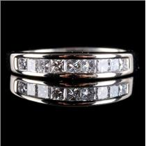 14k White Gold Princess Cut Diamond Channel Set Wedding / Anniversary Ring .58ct
