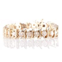 "14k Yellow Gold Round Cut Cognac Diamond ""S Style"" Tennis Bracelet 5.0ctw"