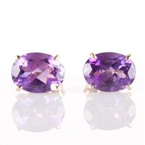 "14k Yellow Gold Oval Cut ""AA"" Amethyst Solitaire Stud Earrings 2.10ctw"