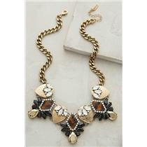 NEW Baublebar x Anthropologie Dorado Crystal Bib/Statement Necklace Brass Chain