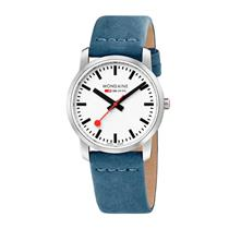 Mondaine Watch A400.30351.16SBD Lady Simply Elegant.Swiss,Blue Canvas Leather