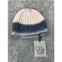NWT Chaser Ombre Knit Beanie Skull Cap Hat Blue/Grey/Pink/Silver w/Rolled Hem