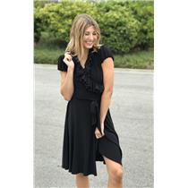 Sz 4 LAUREN Ralph Lauren Ruffle Trim Puff Sleeve Wrap Dress Black Stretch Jersey
