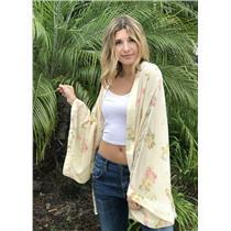Sz 8 One Teaspoon Hawaiian Silk Kimono Waikiki Ivory/Yellow Floral Open Front