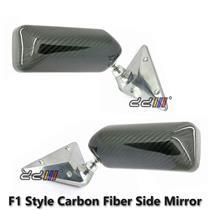 Universal 1 Set CS F1 Style Carbon Fiber Blue Mirror Metal Bracket Side Mirror