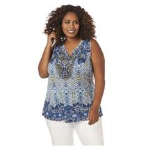 Catherines Size 3X Tranquil Soul Blue Print Polyester Embellished Tank