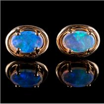 14k Yellow Gold Oval Doublet Cut Opal Solitaire Stud Earrings